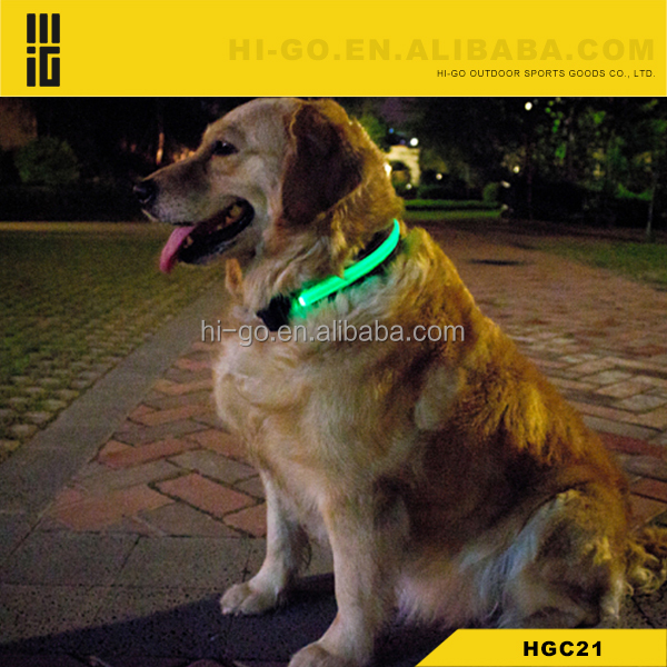 LED Light Flashing Adjustable Nylon Dog Collar With Lead Light
