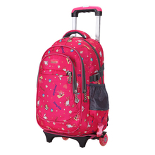 Trolly fashion children teenager backpack rolling kids school bag with wheels