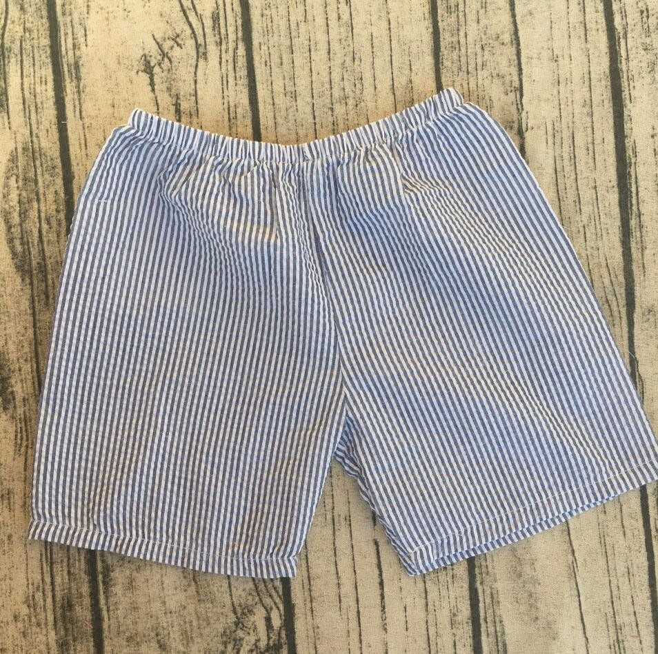 Summer Beach Seersucker Shorts Casual Kids clothes Cotton Elastic Waist boys Shorts hot sale
