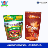 custom printing Bottom gusset Stand up coconut sugar food packaging bags