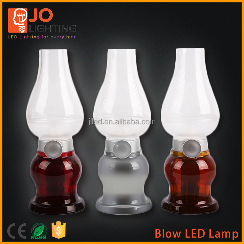 Rechargeable blow control retro kerosene led lamp built in battery brightness adjustable