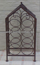 wholesale handicraft vintage 7 bottles stand holder carrier wrought iron wine rack