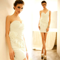 Elegant Noble Pleated Strapless Party Women's one shoulder dress plus size 11464