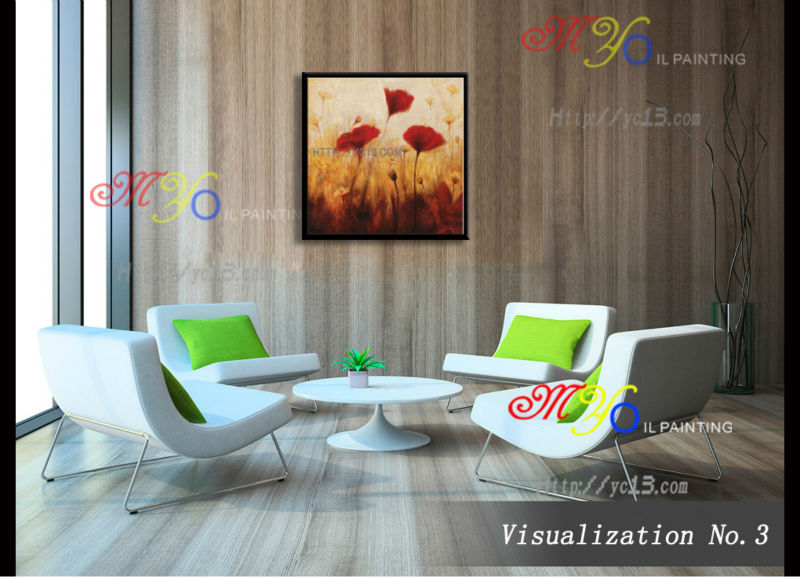 canvas classical red flowers Artwork handmade home decor oil painting