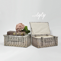 Factory custom mini wholesale cheap empty gift flower storage hamper cloth liner picnic willow wicker basket for sale