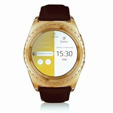 NO.1 S5 Heart Rate Monitoring Remote Camera Smart Watch-LEATHER BAND GOLDEN/3D Touch Screen Design for phone smart watch