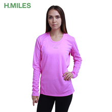 Wholesale comfortable dry fit sport women polyester long sleeve t shirt