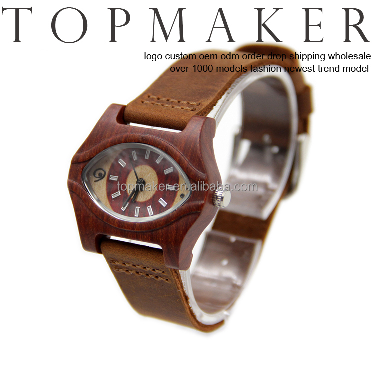 Unique Wholesale Eye Shaped Wooden Women Watches Leather