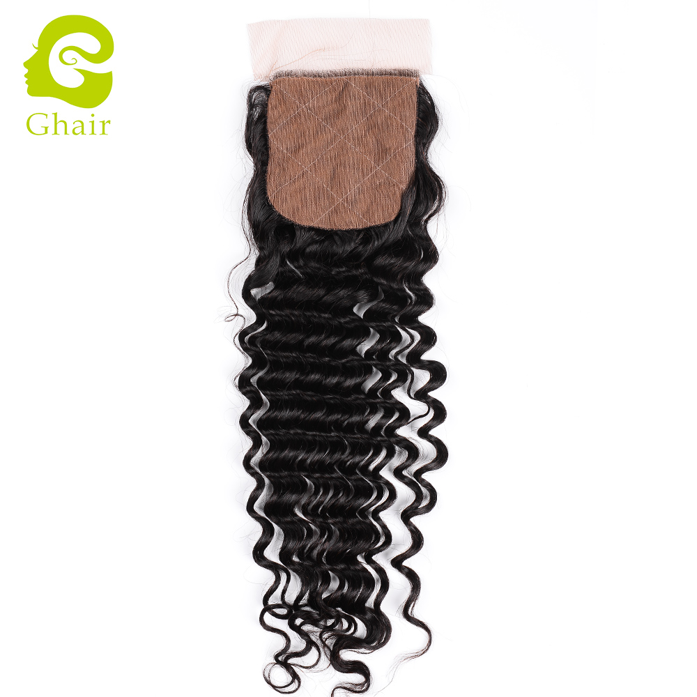 <strong>Hot</strong> on sale deep wave style 4*4 silk top lace closure