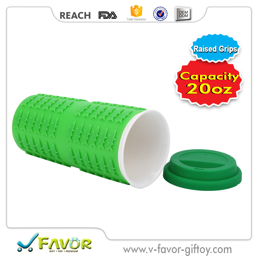 20 oz Silicone Wrapped Ceramic Tumbler novelty mug