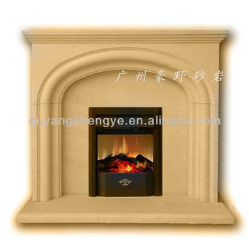 freestanding yellow marble electric fireplace