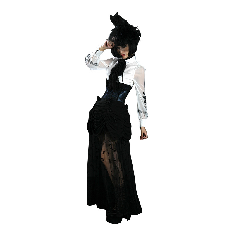 Q-<strong>130</strong> PUNK RAVE Gothic Style Jacquard Hight-Waist Long Lace Women Skirt