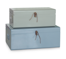 Set 2 Bedroom Metal Storage Trunk Concise Decorated Boxes Chest With Leather Rope Accessories