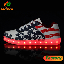 2017 high quality led shoesNight club Confortable sneakers American flags adults led shoes promotion