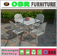 latest 5pcs dining table and chair cast aluminum garden furniture set