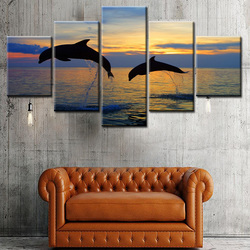 5 Panels Animal Pictures Printed Wallpaper Canvas Art Custom Giclee Prints
