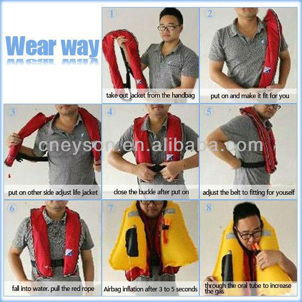 Factory price 80N 17g inflatable factory direct sale SOLAS CE EC CCS Approval automatic life jacket for kids swimming