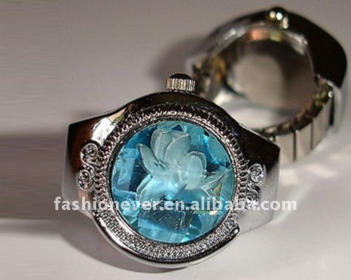 Fashion Stretch Watch Ring with Aquamarine Stone