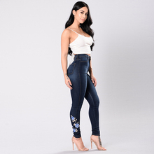 Women Flower Embroidered Pant Elastic Pencil Denim jeans Female sexy skinny mujer Pantalon Femme bottom jeans