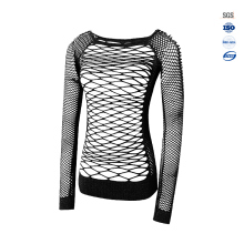 Factory wholesale mesh pattern fashionable seamless running sport long sleeve t shirt for women