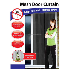 Mesh Door Magic Curtain Magnetic Snap Fly Bug Insect Mosquito Screen Net (Black) .H0086