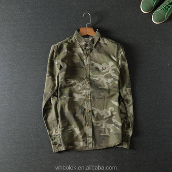 Custom logo Men's fashion style shirt cotton camouflage military shirt