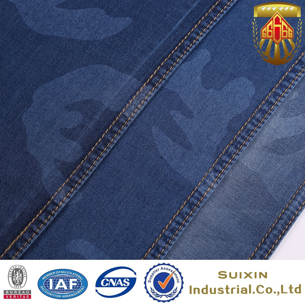 camouflage color denim fabric in 100% cotton printing twill denim jeans