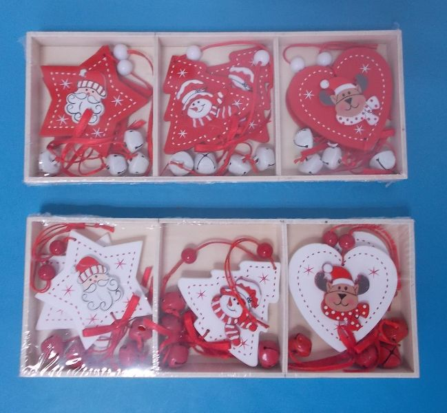 wooden <strong>christmas</strong> hanging ornaments in star/tree/heart shape decoration