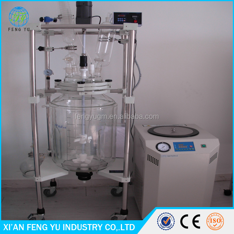 10L - 100L laboratory double layer jacketed glass reactor