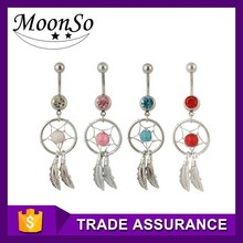 wholesale Dream Catcher Belly Ring six color Supreme Jewelry Surgical Steel body piercing jewelry K3B