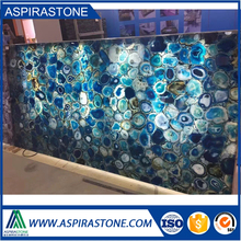 semi precious stone transparent backlit blue agate slabs countertop