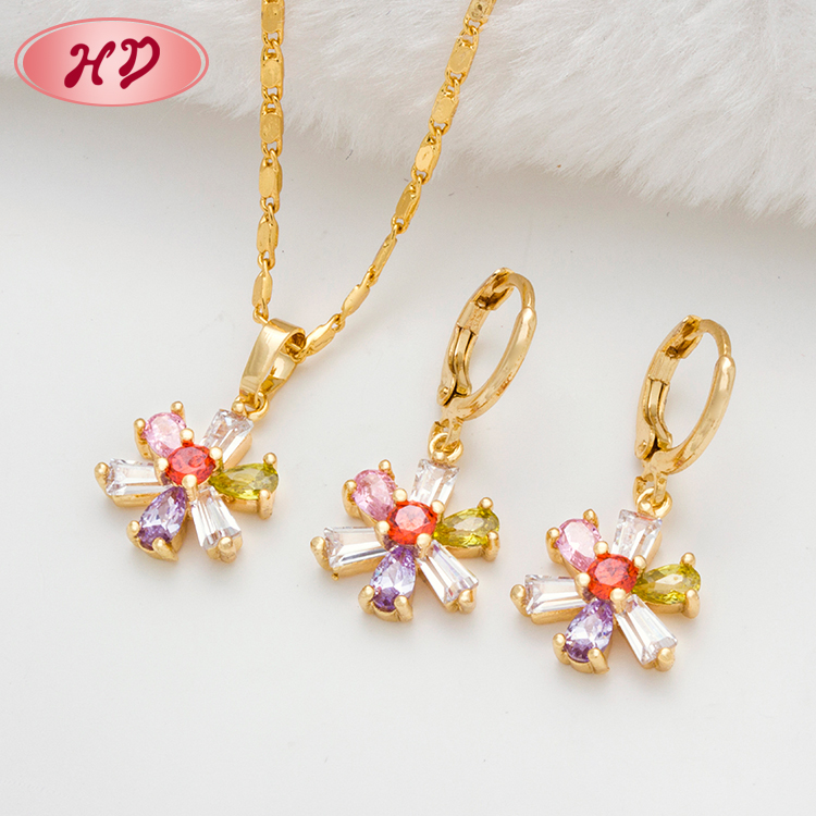 Costume Jewellery Gold Plated Jewellery Set Necklace And Earrings Zircon