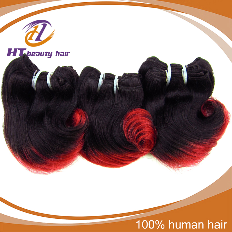 5A Brazilian Virgin Hair 6pcs Short Wavy Weave red and black color Two Tone Ombre Human Hair Extensions