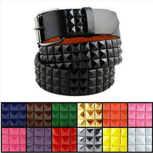 Punk Rock ! 3-Row Metal Pyramid Studded Leather Belt Unisex Mens Womens Goth Emo