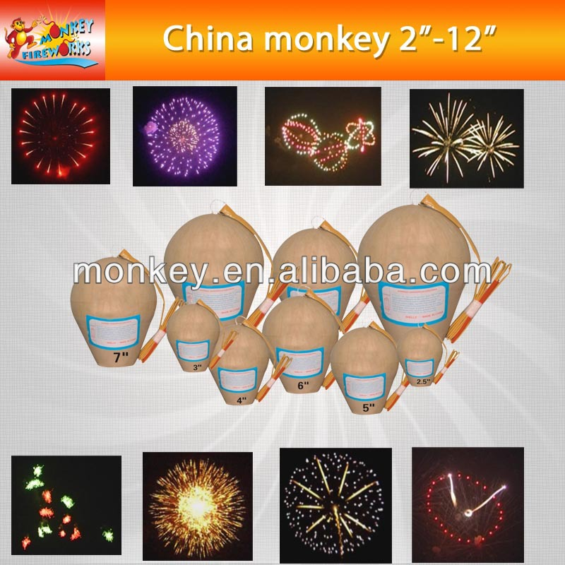 "2"" inch-12"" inch professional display shells multi color show for new year christmas party fireworks (T9500-2""~12"")"
