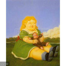 Handmade Fernando Botero fat figure oil painting, Girl With Puppet 1996