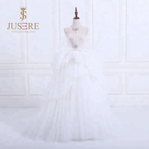 2018 New exquisite sheer and beaded with rhinestone neckline see through bodice tiered skirt wedding dress