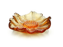 ARTBAY crystal glass pate de verre sunflower shape amber color small handmade jewelry box