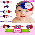America Patriotic Wholesale Baby Girls Shabby Flowers Headbands Kids' Hair Accessories Boutique Toddler 4th of July Headband