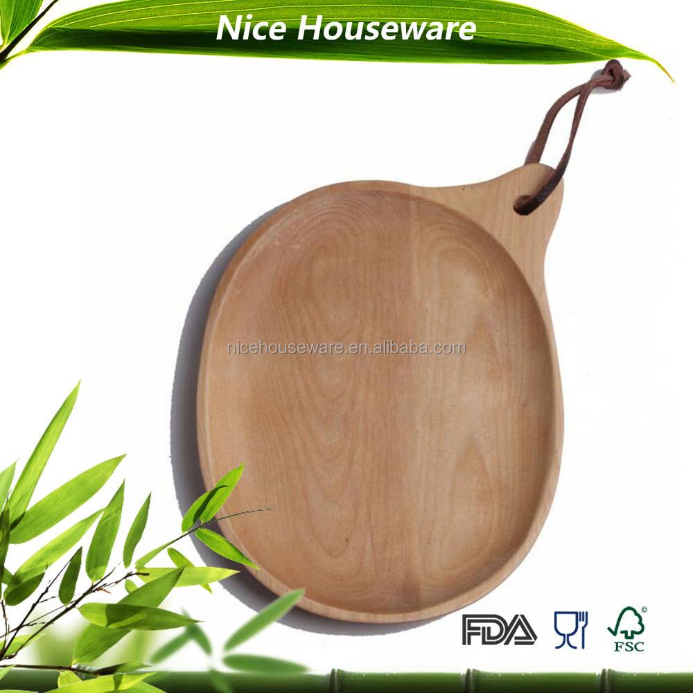 Healthy wood pizza serving plate with leather hanger