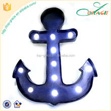 2016 summer seaside Marine items metal light up anchor LED wall decoration