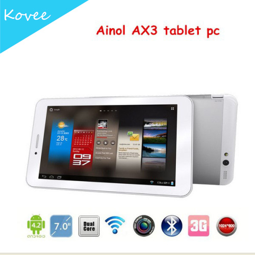 Ainol Numy 3G AX3 7 inch Android 4.2 MTK8382 Quad core 1.2GHz 1024x600PX Bluetooth GPS 3G Phone call Tablet pc