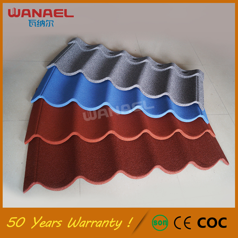 Wanael roof tile factory/wood house roof/colorful stone coated metal roofing tile Promotion