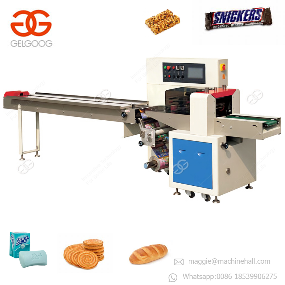 Factory Price Automatic Flow Cherry Tomato Wrapper Chocolate Bar Pillow Packaging Bread Bag Wipes Wet Towel Packing Machine
