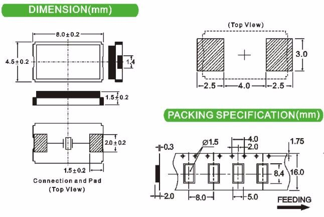 WTL Glass Sealed Ceramic 8045 2pads MHz SMD Crystal Quartz Xtal for Automatic Mounting