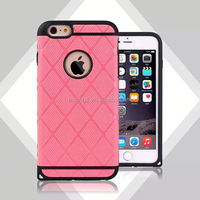 Sporty Diamond Pattern PC SiliconeHard Hybrid Armor Cell Phone Case Cover for iPhone 6 Plus