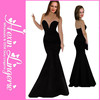 China supplier wholesale price no moq elegant sexy black strapless long evening dress 2014