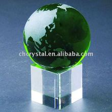 80mm green color crystal globe ball , green crystal world map globe