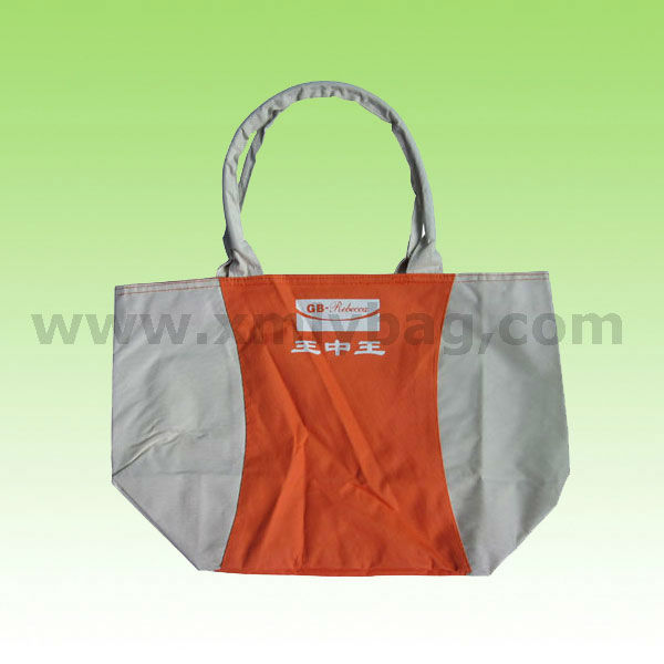 Promotional Nature and Orange Handle Polyester Shopping Bag