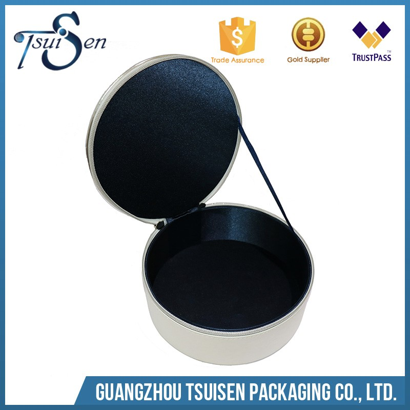 customized high quality PU leather storage box round gift box for cosmetic